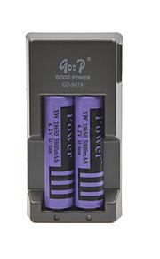 stroom batterijlader voor 18650 oplaadbare Li-ion batterij (inbegrepen 2x5800mah 4.2V batterijen)