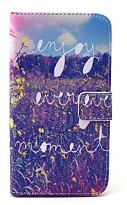 Body collant portefeuille / Support de Carte / résister Fleur Cuir PU Dur Couverture de cas pour Samsung GalaxyS6 edge / S6 / S5 Mini /