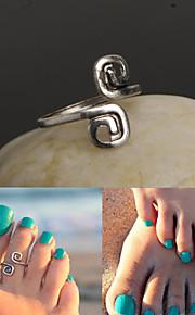 justerbar antik sølv vintage dobbelt 8 tå ring krop ring fod strand smykker
