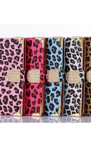 hhmm patrón de leopardo de lujo con diamantes de imitación de plástico hebilla de cuero de la PU con el caso de los stents para el htc uno