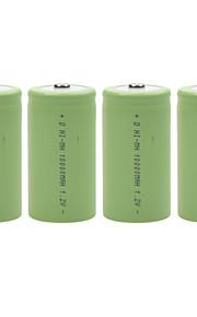 10000mAh 1.2V d-type oplaadbare NiMH-batterij (4 stuks)