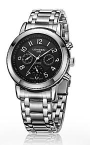 relógio analógico calendário caixa de aço inoxidável mostrador redondo banda de aço inoxidável dom relógio automático dos homens (cores