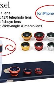 """apexel 4 i 1 objektiv kit 12x vit teleobjektiv + fisheye-objektiv + vidvinkel + makrokameralinsen med fallet för iphone 6 4.7 """""""