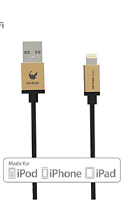 OLDSHARK MFI Certified Lightning Data Sync Charge Cable with Golden Aluminum Connector for iPhone 5/5s/6/6 Plus/iPad