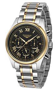GUANQIN Masculino Relógio Elegante Relógio de Moda Relógio de Pulso Quartzo Calendário Impermeável Luminoso Aço Inoxidável Banda Luxuoso