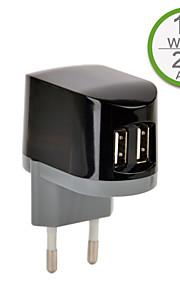 CE-certifierad dubbla USB väggladdare, europa plugg, 5v 2.1a utgång, för iphone 5 iphone 6 / plus, ipad luft, iPad mini, ipad4