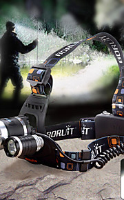 헤드램프 LED 4.0 모드 1800lm 루멘 조절가능한 초점 / 방수 Cree XM-L T6 / 크리Q5 18650 캠핑/등산/동굴탐험 / 사이클링 / 야외 - 기타 , 블랙 알루미늄 합금