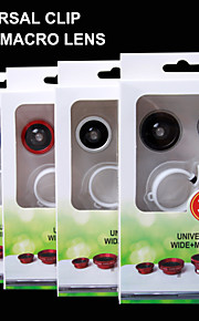 3 i 1 mobiltelefonens objektiv / 0.4x vidvinkel / 180 ° fisheye / makroobjektiv, pad, etc