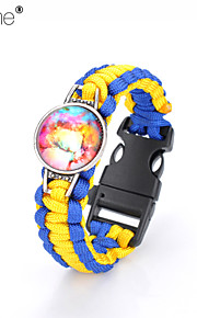 Lureme® Brief Blue Intertwine  Yellow Weave Parachute Cord Dream Starry Sky Time Gem Survival Whistle Alloy Bracelet