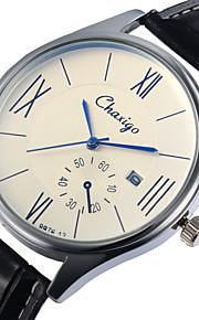 pulseira de couro estilo de negócio calendário de marcação de quartzo japonês relógio de pulso do casal