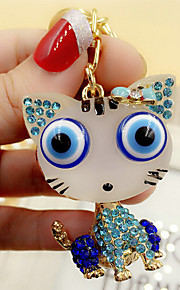 søde rhinestone kat nøglering (tilfældige farver)