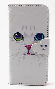 bianco modello del gatto pu custodia in pelle con slot per schede e supporto per mini Samsung Galaxy S4 / s3mini / s5mini / s3 / S4 / S5 /