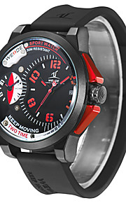 Weide mænds 3ATM vandtæt dual tidszone store dial sport kvarts ur med silikone rem (to farver optioner)