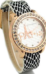 kvinders diamante runde Eiffeltårnet dial pu band quartz analog afslappet ur