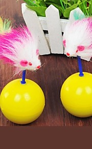 Brinquedo Para Gato Brinquedos para Animais Brinquedo de Provocação Brinquedo com Penas camundongo Amarelo Téxtil