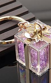 Crystal Gift Box Shape Key Chain Ring Bag Decoration Organizer Holder for Wedding Gift Lover