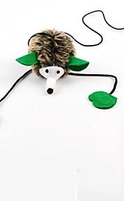 Brinquedo Para Gato Brinquedos para Animais Brinquedo de Provocação Brinquedo com Penas Porco Espinho Marrom Téxtil