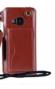 pu ranura de la tarjeta de cuero colgar cuerda que colgaba de su cuello funda de teléfono celular para HTC m9 / m8 (color clasificado)