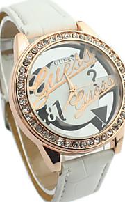 Diamante женщин круглый полый гравюры набрать PU Группа Кварцевые аналоговые часы платье