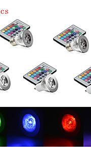 5pcs hry® 3W e27 / e14 / GU10 rgb fargeendringen ledet lyspære lampe med fjernkontroll (85-265v)