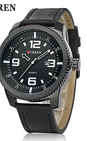projeto exército calendário relógio militar pulseira de couro quartzo japonês dos homens curren®