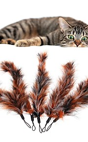 FUN OF PETS® 5 Pieces Large Brown Birds Feather Pet Cats Playing Stick Teasers Feathers Replace Head