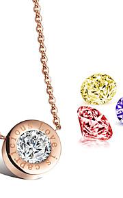 Ms AAA Zirconium Drill Precision Steel Rose Gold LOVE Necklace(Send Three Colored Diamonds)