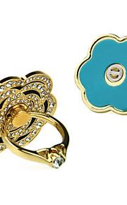 Mobile Phone Holders Stands Ring Holder Petals Diamante Diamond Metal Rose Flower
