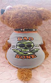 holdhoney lysegrå og orange kant kraniet bomuld T-shirt til kæledyr hunde (assorterede størrelser) # lt15050228