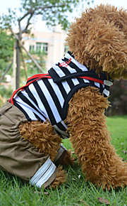Red/Black Cotton Sailor Striped Suit Lovers Clothes For Dogs/Pets