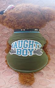 holdhoney armygrøn blå kant udskrivning engelsk breve bomuld t shirt til kæledyr hunde (assorterede størrelser) # lt15050226