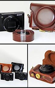 dengpin pu de couro da câmera caso saco de cobrir com alça de ombro para Sony DSC-hx90v hx90 wx500 (cores sortidas)
