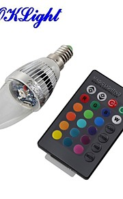 youoklight® e14 3W fjernstyrt ledet stearinlys pære fargerik lys 240lm - sølv (ac 110-120V / 220-240V)