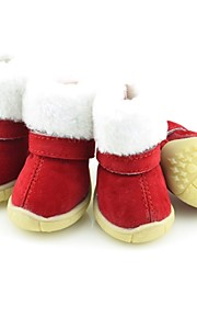 FUN OF PETS® Warm Winter Red Christmas Festival Dog Shoes for Pets Puppy Dogs(Assorted Sizes)