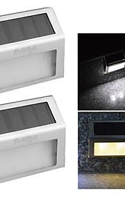 youoklight® 2stk 0.2W 2-ledede varm hvit / hvit lysstyring solar vegglampe - sølv