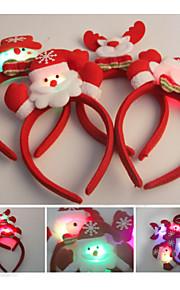 Decoração do Natal 2pcs festa de natal bonito banda Santa cabeça cabelo chapéu (cor aleatória)