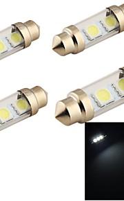 youoklight® 4stk guirlande 36mm 2W 150lm 3-smd5050 6000K hvidt lys førte bil læselampe (12v)
