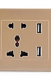универсальный пять отверстий Dual USB зарядка розетка (шампанское)