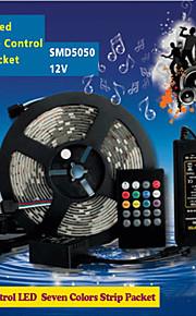 Waterproof 5M 300Pcs High Brightness SMD5050 LED 20 Keys Seven Sound Colors LED Remote Control RGB Strips IP67