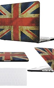 2 in 1 Uk Flag Rubberized Full Protective Hard Case for MacBook Air Pro Retina 11/13/15 with Transparent Keyboard Cover