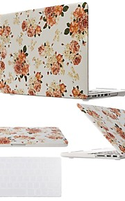 "2 in 1 Flower Hard Plastic Cover for MacBook Air Pro Retina 11"" /13"" /15 ""with Transparent Keyboard Cover"