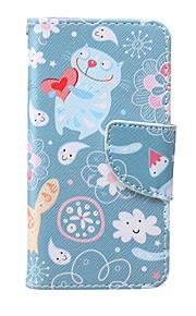 아이팟 터치 5 / 6를위한 고양이 패턴 PU 소재 카드 브래킷 케이스