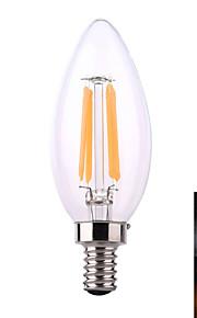 ywxlight e12 8 m 4 cob 640 lm varm hvit / naturhvit ledet stearinlys pærer ac 110-130 v