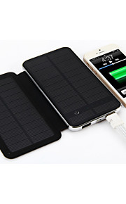 3W Solar Charger 10000mAh Double USB Interface Portable Mobile Power Bank with Touch LED Light