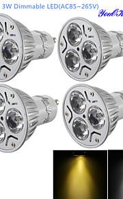 dimmable 4pcs youoklight® הוביל לבן / חם bulb- 280lm GU10 3W הלבן 3-המתח גבוה הנקודה הובילה אור (ac110-120v / 220V-240V)