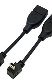 cy® male mini USB naar vrouwelijke turnup en turndownservice 90 graden kabel (0.1m)