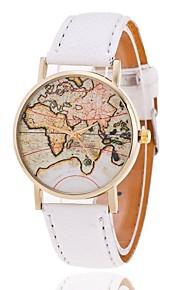 Mulheres Relógio de Moda Bracele Relógio Quartzo Padrão Mapa do Mundo PU Banda Padrão Mapa do Mundo Preta Branco MarromMarron Rosa claro
