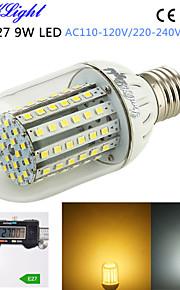 youoklight® 1pcs e27 9w 800lm 90-3528smd 3000K / 6000K høy lysstyrke&lang levetid 45,000h ledet lys ac110-120v / 220-240V