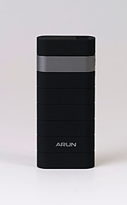 ARUN Y305 12500mAh Power Bank with Dual USB Ports Design for Iphone and Others -Black with Silver Color