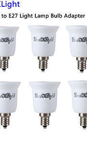 youoklight® 6pcs E12 til E27 lys lampe pære adapter converter - sølv + hvit